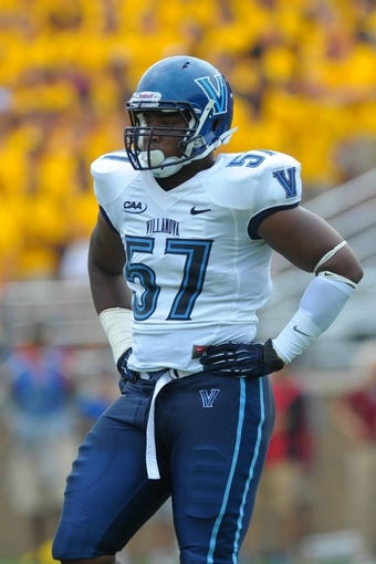Aug 31, 2013; Boston, MA, USA; Villanova Wildcats defensive lineman Noble Ajakaiye (57) during the second half against the Boston College Eagles at Alumni Stadium. Mandatory Credit: Bob DeChiara-USA TODAY Sports