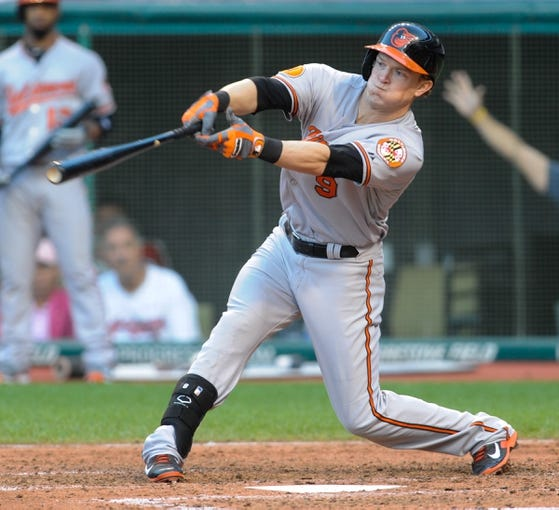 Sep 2, 2013; Cleveland, OH, USA; Baltimore Orioles left fielder Nate McLouth (9) at bat against the Cleveland Indians at Progressive Field. Mandatory Credit: Ken Blaze-USA TODAY Sports