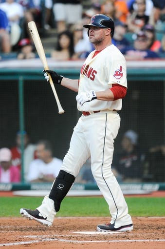 Sep 2, 2013; Cleveland, OH, USA; Cleveland Indians designated hitter Jason Giambi (25) at bat against the Baltimore Orioles at Progressive Field. Mandatory Credit: Ken Blaze-USA TODAY Sports