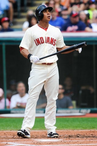 Sep 2, 2013; Cleveland, OH, USA; Cleveland Indians left fielder Michael Brantley (23) watches a foul ball against the Baltimore Orioles at Progressive Field. Mandatory Credit: Ken Blaze-USA TODAY Sports