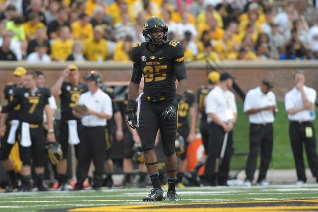 Aug 31, 2013; Columbia, MO, USA; Missouri Tigers wide receiver Marcus Lucas (85) on the line of scrimmage during the first half of the game against the Murray State Racers at Faurot Field. Missouri won 58-14. Mandatory Credit: Denny Medley-USA TODAY Sports