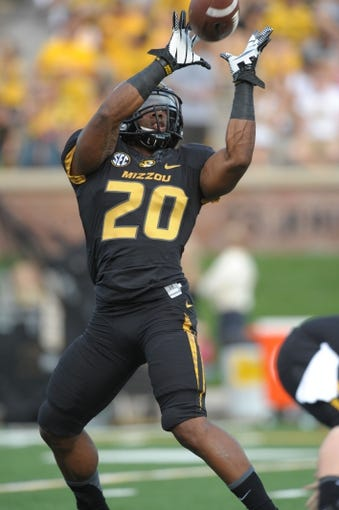 Aug 31, 2013; Columbia, MO, USA; Missouri Tigers running back Henry Josey (20) warms up before the game against the Murray State Racers at Faurot Field. Missouri won 58-14. Mandatory Credit: Denny Medley-USA TODAY Sports