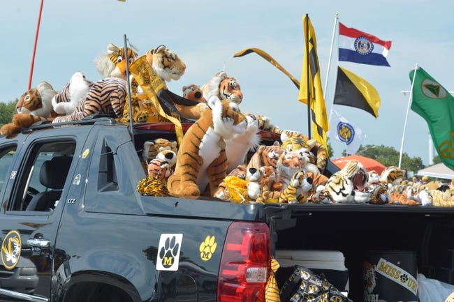 Aug 31, 2013; Columbia, MO, USA; Missouri Tigers fans Russ Stokes and Betty Stokes of Cherokee Village, AR (not pictured) tailgate with their tiger collection before the game against the Murray State Racers at Faurot Field. Mandatory Credit: Denny Medley-USA TODAY Sports