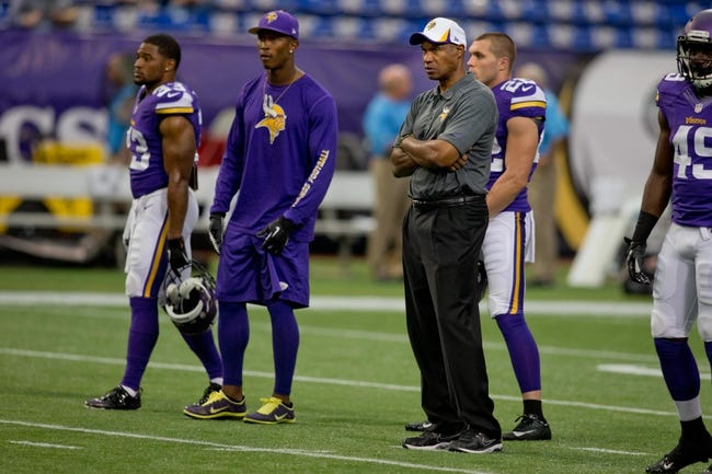 Aug 29, 2013; Minneapolis, MN, USA; Minnesota Vikings head coach Leslie Frazier watches his team perform drills before the game with the Tennessee Titans at Mall of America Field at H.H.H. Metrodome. Vikings win 24-23. Mandatory Credit: Bruce Kluckhohn-USA TODAY Sports