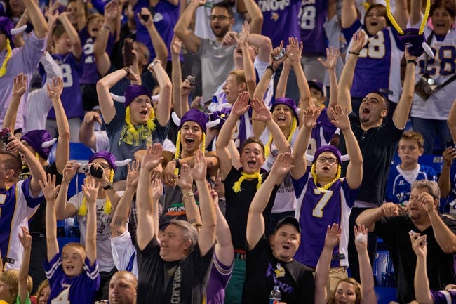 Aug 29, 2013; Minneapolis, MN, USA; Minnesota Vikings fans cheer their team as they play the Tennessee Titans at Mall of America Field at H.H.H. Metrodome. Vikings win 24-23. Mandatory Credit: Bruce Kluckhohn-USA TODAY Sports