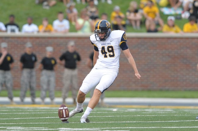 Aug 31, 2013; Columbia, MO, USA; Murray State Racers kicker Carson Greifenkamp (49) kicks the ball during the first half of the game against the Missouri Tigers at Faurot Field. Missouri won 58-14. Mandatory Credit: Denny Medley-USA TODAY Sports