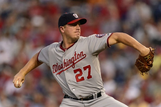 Sep 4, 2013; Philadelphia, PA, USA; Washington Nationals pitcher Jordan Zimmermann (27) delivers to the plate during the first inning against the Philadelphia Phillies at Citizens Bank Park. Mandatory Credit: Howard Smith-USA TODAY Sports