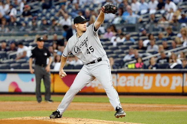 Sep 4, 2013; Bronx, NY, USA;  Chicago White Sox starting pitcher Erik Johnson (45) pitches during the first inning against the New York Yankees at Yankee Stadium. Mandatory Credit: Anthony Gruppuso-USA TODAY Sports