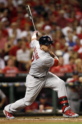 Sep 5, 2013; Cincinnati, OH, USA; St. Louis Cardinals left fielder Matt Holliday (7) bats during the fourth inning against the Cincinnati Reds at Great American Ball Park. Mandatory Credit: Frank Victores-USA TODAY Sports