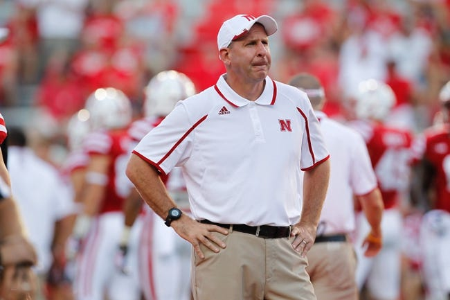 Aug 31, 2013; Lincoln, NE, USA; Nebraska Cornhuskers head coach Bo Pelini watches his team prior to the game against the Wyoming Cowboys at Memorial Stadium. Nebraska won 37-34. Mandatory Credit: Bruce Thorson-USA TODAY Sports