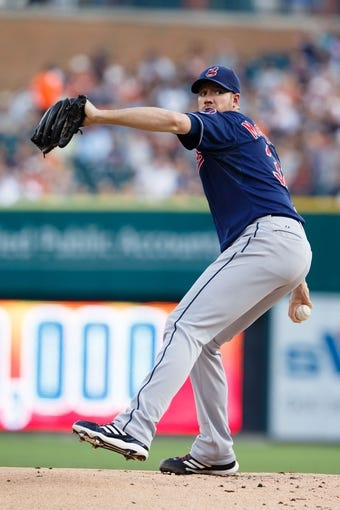 Aug 30, 2013; Detroit, MI, USA; Cleveland Indians starting pitcher Zach McAllister (34) pitches during the first inning against the Detroit Tigers at Comerica Park. Mandatory Credit: Rick Osentoski-USA TODAY Sports