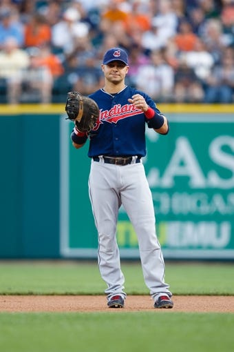 Aug 30, 2013; Detroit, MI, USA; Cleveland Indians first baseman Nick Swisher (33) in the field against the Detroit Tigers at Comerica Park. Mandatory Credit: Rick Osentoski-USA TODAY Sports