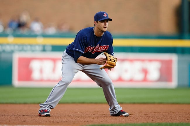 Aug 30, 2013; Detroit, MI, USA; Cleveland Indians third baseman Lonnie Chisenhall (8) in the field against the Detroit Tigers at Comerica Park. Mandatory Credit: Rick Osentoski-USA TODAY Sports