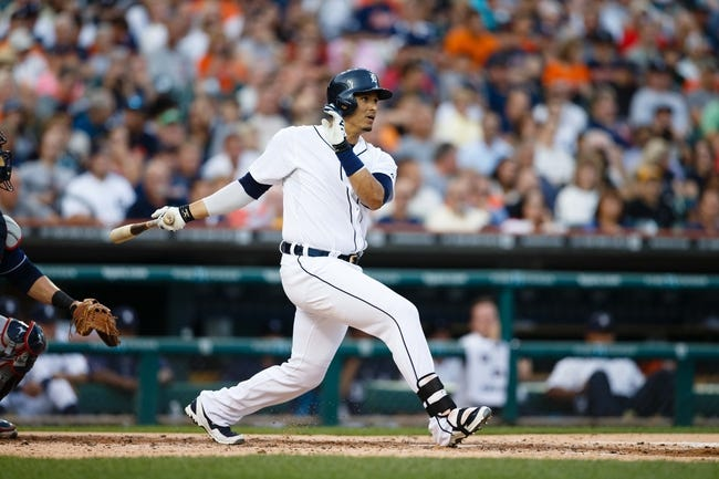 Aug 30, 2013; Detroit, MI, USA; Detroit Tigers designated hitter Victor Martinez (41) hits a double during the second inning against the Cleveland Indians at Comerica Park. Mandatory Credit: Rick Osentoski-USA TODAY Sports