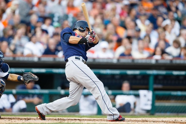 Aug 30, 2013; Detroit, MI, USA; Cleveland Indians third baseman Lonnie Chisenhall (8) at bat against the Detroit Tigers at Comerica Park. Mandatory Credit: Rick Osentoski-USA TODAY Sports