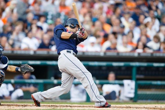 Aug 30, 2013; Detroit, MI, USA; Cleveland Indians third baseman Lonnie Chisenhall (8) at bat against the Detroit Tigers at Comerica Park. Mandatory Credit: Rick Osentoski-USA TODAY Sports