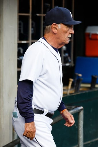 Aug 30, 2013; Detroit, MI, USA; Detroit Tigers manager Jim Leyland (10) in the dugout before the game against the Cleveland Indians at Comerica Park. Mandatory Credit: Rick Osentoski-USA TODAY Sports