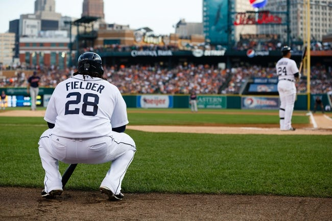 Aug 30, 2013; Detroit, MI, USA; Detroit Tigers first baseman Prince Fielder (28) waits to bat against the Cleveland Indians at Comerica Park. Mandatory Credit: Rick Osentoski-USA TODAY Sports