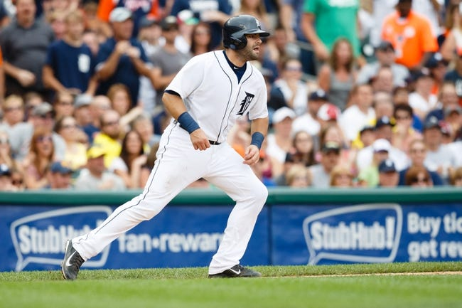 Sep 1, 2013; Detroit, MI, USA; Detroit Tigers catcher Alex Avila (13) runs the bases against the Cleveland Indians at Comerica Park. Mandatory Credit: Rick Osentoski-USA TODAY Sports