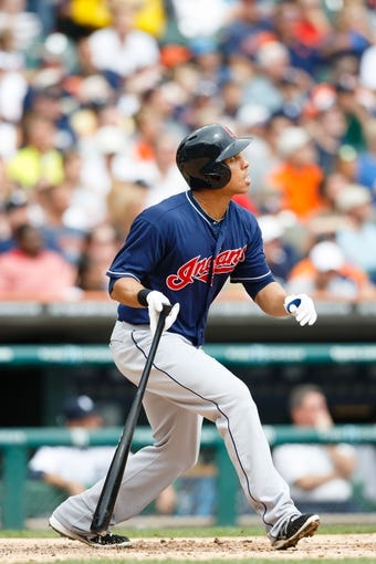 Sep 1, 2013; Detroit, MI, USA; Cleveland Indians left fielder Michael Brantley (23) at bat against the Detroit Tigers at Comerica Park. Mandatory Credit: Rick Osentoski-USA TODAY Sports