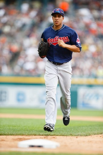 Sep 1, 2013; Detroit, MI, USA; Cleveland Indians left fielder Michael Brantley (23) runs off the field against the Detroit Tigers at Comerica Park. Mandatory Credit: Rick Osentoski-USA TODAY Sports