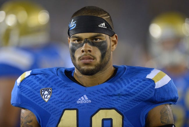 Aug 31, 2013; Pasadena, CA, USA; UCLA Bruins fullback Tre Hale (48) during the game against the Nevada Wolf Pack at the Rose Bowl. UCLA defeated Nevada 58-20. Mandatory Credit: Kirby Lee-USA TODAY Sports