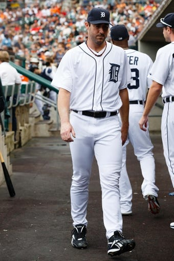 Sep 1, 2013; Detroit, MI, USA; Detroit Tigers starting pitcher Justin Verlander (35) in the dugout against the Cleveland Indians at Comerica Park. Mandatory Credit: Rick Osentoski-USA TODAY Sports