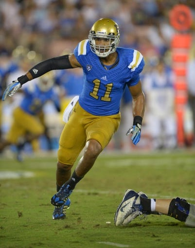 Aug 31, 2013; Pasadena, CA, USA; UCLA Bruins linebacker Anthony Barr (11) during the game against the Nevada Wolf Pack at the Rose Bowl. UCLA defeated Nevada 58-20. Mandatory Credit: Kirby Lee-USA TODAY Sports