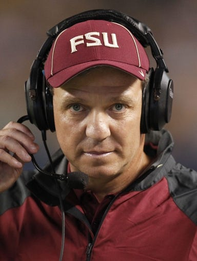 Sep 2, 2013; Pittsburgh, PA, USA; Florida State Seminoles head coach Jimbo Fisher on the sidelines against the Pittsburgh Panthers during the second quarter at Heinz Field. The Florida State Seminoles won 41-13. Mandatory Credit: Charles LeClaire-USA TODAY Sports