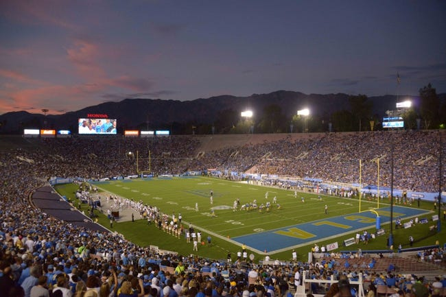 Aug 31, 2013; Pasadena, CA, USA; General view of  the Rose Bowl during the NCAA football game between the Nevada Wolf Pack and the UCLA Bruins. Mandatory Credit: Kirby Lee-USA TODAY Sports