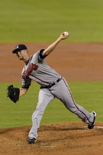 Sep 6, 2013; Philadelphia, PA, USA; Atlanta Braves pitcher Mike Minor (36) delivers to the plate during the second inning against the Philadelphia Phillies at Citizens Bank Park. Mandatory Credit: Howard Smith-USA TODAY Sports