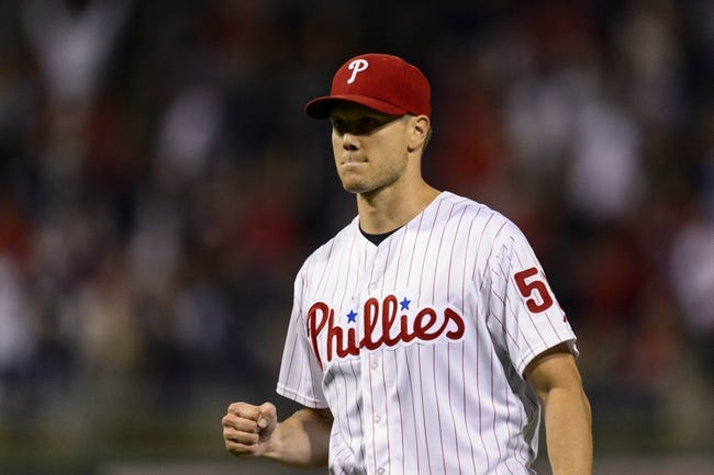 Sep 6, 2013; Philadelphia, PA, USA; Philadelphia Phillies pitcher Jonathan Papelbon (58) celebrates pitching the ninth inning against the Atlanta Braves at Citizens Bank Park. The Phillies defeated the Braves 2-1. Mandatory Credit: Howard Smith-USA TODAY Sports