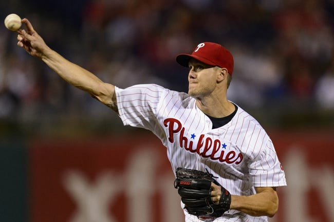 Sep 6, 2013; Philadelphia, PA, USA; Philadelphia Phillies pitcher Jonathan Papelbon (58) delivers to the plate during the ninth inning against the Atlanta Braves at Citizens Bank Park. The Phillies defeated the Braves 2-1. Mandatory Credit: Howard Smith-USA TODAY Sports