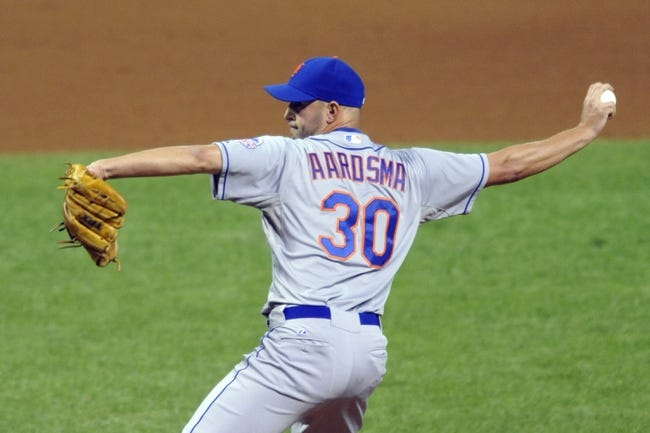 Sep 6, 2013; Cleveland, OH, USA; New York Mets relief pitcher David Aardsma (30) delivers in the eighth inning against the Cleveland Indians at Progressive Field. Mandatory Credit: David Richard-USA TODAY Sports