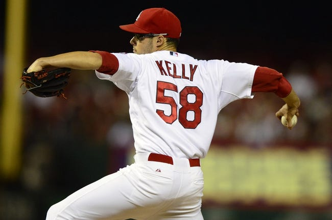 Sep 6, 2013; St. Louis, MO, USA; St. Louis Cardinals starting pitcher Joe Kelly (58) throws to a Pittsburgh Pirates batter during the third inning at Busch Stadium. Mandatory Credit: Jeff Curry-USA TODAY Sports