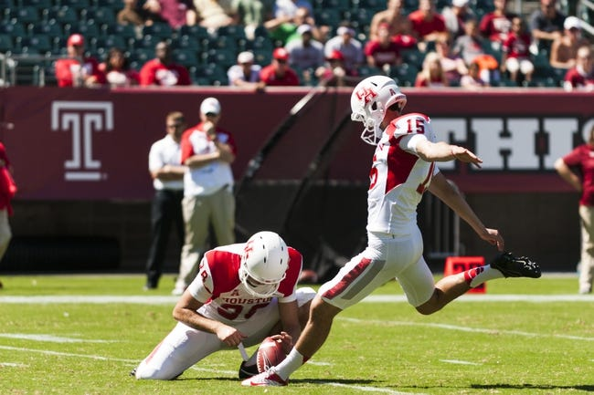 Sep 7, 2013; Philadelphia, PA, USA; Houston Cougars kicker Richie Leone (15) kicks a field goal during the second quarter against the Temple Owls at Lincoln Financial Field. Mandatory Credit: Howard Smith-USA TODAY Sports