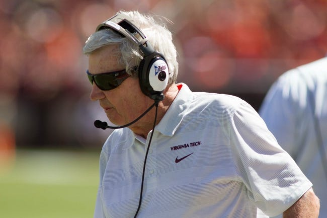 Sep 7, 2013; Blacksburg, VA, USA; Virginia Tech Hokies head coach Frank Beamer looks on during the second quarter against the Western Carolina Catamounts at Lane Stadium. Mandatory Credit: Jeremy Brevard-USA TODAY Sports