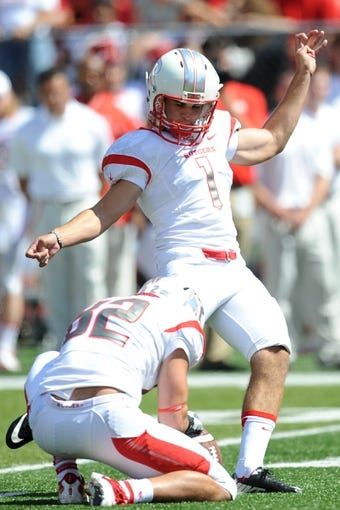 Sep 7, 2013; Piscataway, NJ, USA; Rutgers Scarlet Knights kicker Kyle Federico (1) attempts a field goal against the Norfolk State Spartans during the first half at High Point Solutions Stadium. Rutgers won the game 38-0. Mandatory Credit: Joe Camporeale-USA TODAY Sports