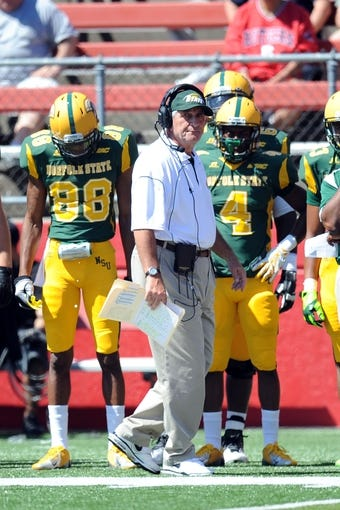 Sep 7, 2013; Piscataway, NJ, USA; Norfolk State Spartans head coach Pete Adrian coaches against the Rutgers Scarlet Knights during the first half at High Point Solutions Stadium. Rutgers won the game 38-0. Mandatory Credit: Joe Camporeale-USA TODAY Sports