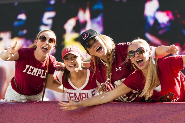 Sep 7, 2013; Philadelphia, PA, USA; Temple Owls fans pose for the camera during the fourth quarter against the Houston Cougars at Lincoln Financial Field. Houston defeated temple 22-13. Mandatory Credit: Howard Smith-USA TODAY Sports