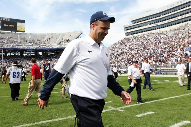 Sep 7, 2013; University Park, PA, USA; Penn State Nittany Lions head coach Bill O'Brien walks off the field following the completion of the game against the Eastern Michigan Eagles at Beaver Stadium. Penn State defeated Eastern Michigan 45-7. Mandatory Credit: Matthew O'Haren-USA TODAY Sports