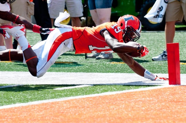 Sep 7, 2013; Champaign, IL, USA;  Illinois Fighting Illini wide receiver Justin Hardee (19) comes up just short of the goal line during the fourth quarter against the Cincinnati Bearcats at Memorial Stadium. Illinois won 45-17.  Mandatory Credit: Bradley Leeb-USA TODAY Sports