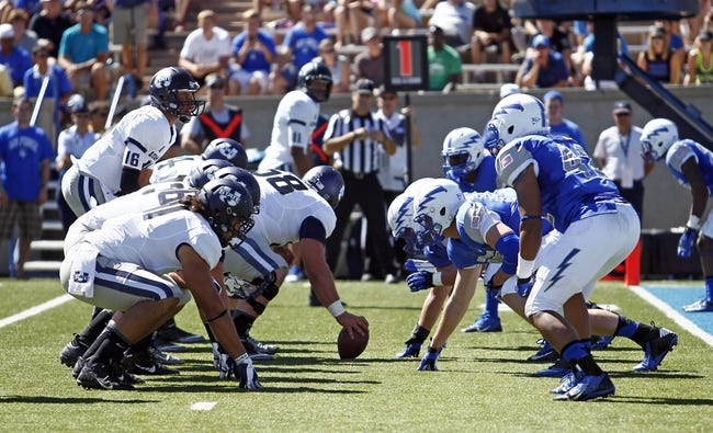 Sep 7, 2013; Colorado Springs, CO, USA; The Utah State Aggies line up against the Air Force Falcons in the second quarter at Falcon Stadium. Mandatory Credit: Isaiah J. Downing-USA TODAY Sports