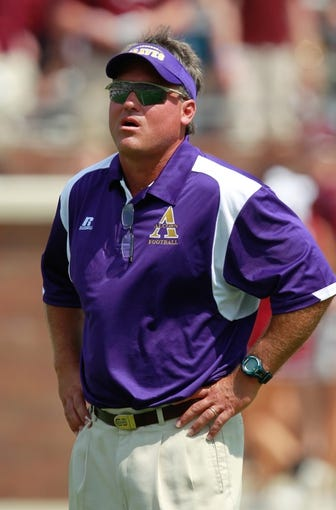 Sep 7, 2013; Starkville, MS, USA;  Alcorn State Braves head coach Jay Hopson prior to the game against the Mississippi State Bulldogs at Davis Wade Stadium. Mandatory Credit: Marvin Gentry-USA TODAY Sports