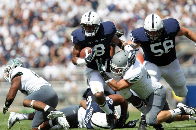 Sep 7, 2013; University Park, PA, USA; Penn State Nittany Lions wide receiver Allen Robinson (8) runs the ball during the second quarter against the Eastern Michigan Eagles at Beaver Stadium. Penn State defeated Eastern Michigan 45-7. Mandatory Credit: Matthew O'Haren-USA TODAY Sports