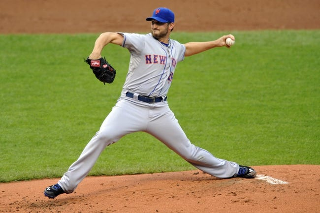 Sep 7, 2013; Cleveland, OH, USA; New York Mets starting pitcher Jonathon Niese (49) delivers in the first inning against the Cleveland Indians at Progressive Field. Mandatory Credit: David Richard-USA TODAY Sports
