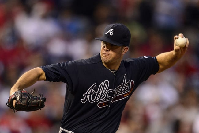 Sep 7, 2013; Philadelphia, PA, USA; Atlanta Braves pitcher Alex Wood (58) delivers to the plate during the first inning against the Philadelphia Phillies at Citizens Bank Park. Mandatory Credit: Howard Smith-USA TODAY Sports