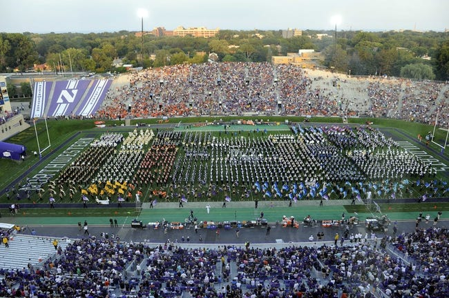 Sep 7, 2013; Evanston, IL, USA; An overall shot of the Northwestern Wildcats marching band during halftime of a game between the Northwestern Wildcats and the Syracuse Orange at Ryan Field. Mandatory Credit: David Banks-USA TODAY Sports