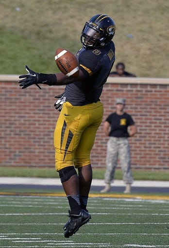 Sep 7, 2013; Columbia, MO, USA;  Missouri Tigers wide receiver Darius White (8) tips a pass during the second half against the Toledo Rockets. Missouri defeats Toledo 38-23 at Faurot Field . Mandatory Credit: Jasen Vinlove-USA TODAY Sports
