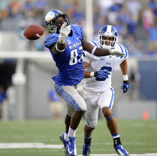 Sep 7, 2013; Memphis, TN, USA; Memphis Tigers wide receiver Tevin Jones (87) drops a pass thrown by Memphis Tigers quarterback Paxton Lynch (not pictured) during the game against the Duke Blue Devils at Liberty Bowl Memorial. Mandatory Credit: Justin Ford-USA TODAY Sports